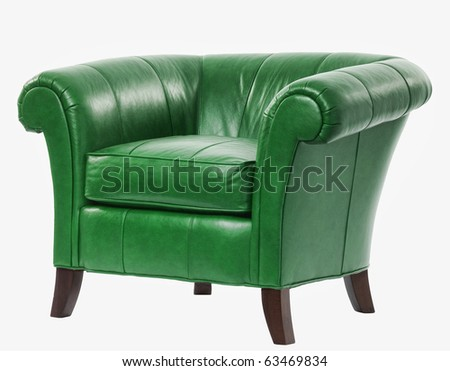 expensive green leather arm chair with clipping path