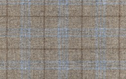 Expensive men's suit. Virgin wool extra fine. Beige with light blue cross. Glenurquhart check is made of cashmere fabric. Traditional Scottish Glen plaid