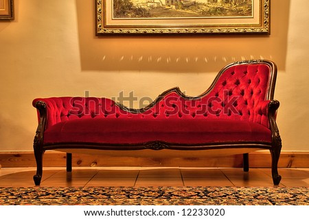 Expensive Red Sofa Under Painting. Shot In Farm Near Stellenbosch ...
