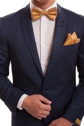 Expensive suit, golden bow tie and elegant handkerchief.