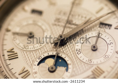 Expensive swiss watch close up