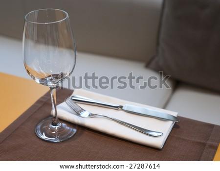 Expensive table set in haute cuisine restaurant