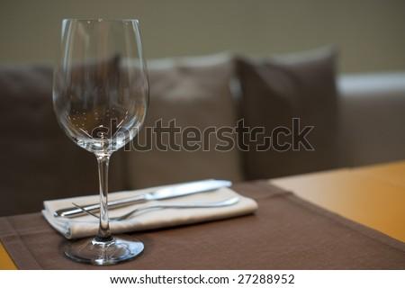 Expensive table set in haute cuisine restaurant, copy space