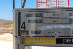 Expensive unleaded petrol and diesel prices at self service gas station in Coral Bay Australia