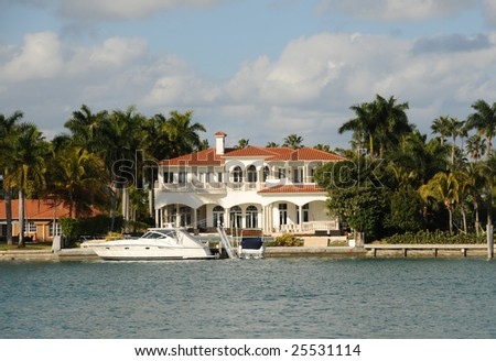 Expensive waterfront real estate in Miami beach, Florida