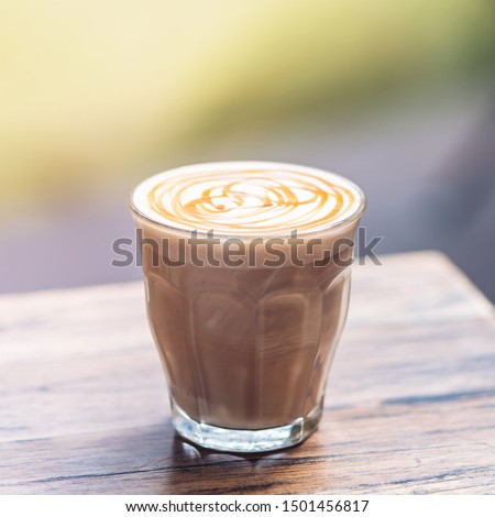 Experience love at first sip. Mochaccino for breakfast. Copy space in upper part #1501456817