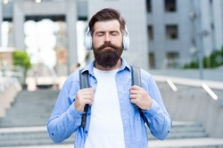 Experience relaxing mood with zen sound. Bearded man listen to music with closed eyes. Meditation sound. Hi-Fi stereo sound. Soothing music. New technology. Modern life. Sound so good you cant resist.