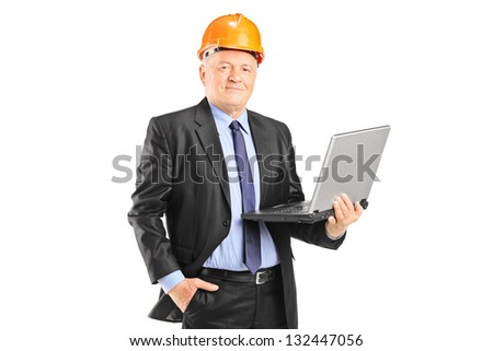 Experienced engineer posing with a laptop isolated on white background