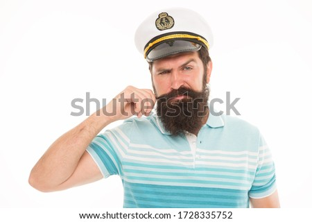 Experienced sailor captain. Bearded sailor isolated on white. Navy and marine. Sea adventures concept. Sailor or seaman with long beard and mustache. Professional mariner. Sea food. Boat ship owner.
