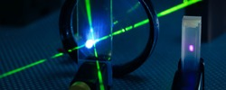 Experiment in photonic laboratory with laser