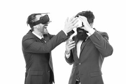 Experimental experience. Business innovation. Vr presentation. Men vr glasses modern technology. Virtual business. Online business concept. Men bearded formal suits. Digital and cyber technologies.