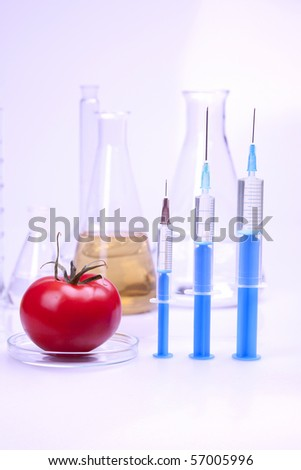 Experiments with fruits in laboratory in blue light