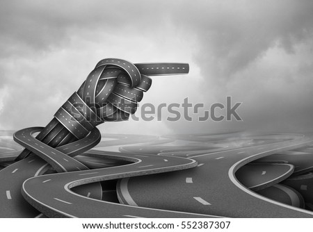 Expert advice concept and experienced wisdom symbol as a group of tangled road pathways with a pointing direction hand gesture as a business success metaphor for finding the way forward.
