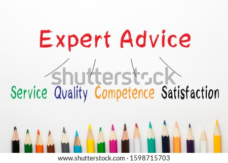Expert Advice diagram and colored pencils on a white background.