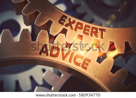 Expert Advice Golden Metallic Cog Gears. Expert Advice - Illustration with Glowing Light Effect. 3D Rendering.