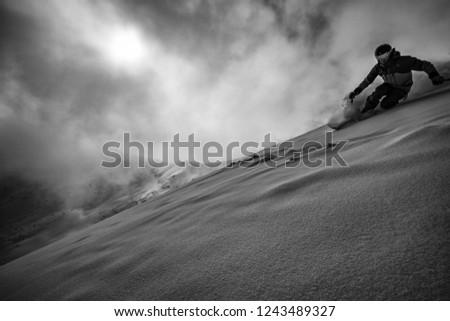 Expert skier in the backcountry B&W Zdjęcia stock ©