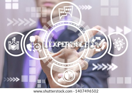 Expert uses on a virtual screen of the future and sees the word: EXPERTISE. Expertise Business Professional Support Review concept. #1407496502