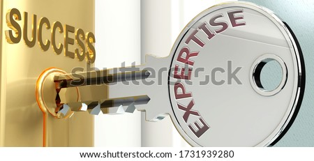 Expertise and success - pictured as word Expertise on a key, to symbolize that Expertise helps achieving success and prosperity in life and business, 3d illustration