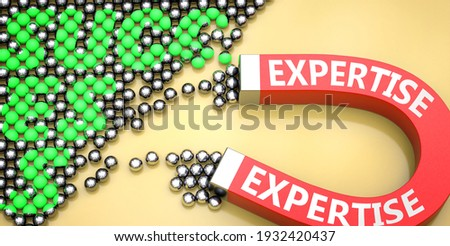 Expertise attracts success - pictured as word Expertise on a magnet to symbolize that Expertise can cause or contribute to achieving success in work and life, 3d illustration