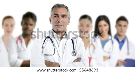 expertise gray hair doctor multiracial nurse team row over white [Photo Illustration]