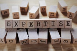 Expertise Word In Wooden Cube