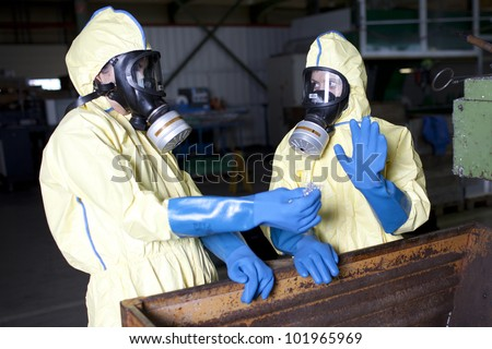 Experts analyzing suspected chemical material