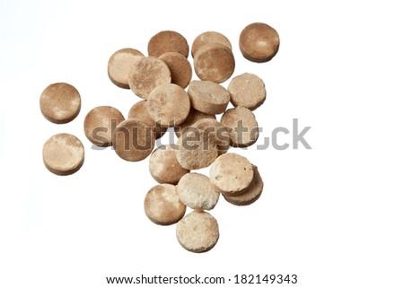 expired pills isolated on white background