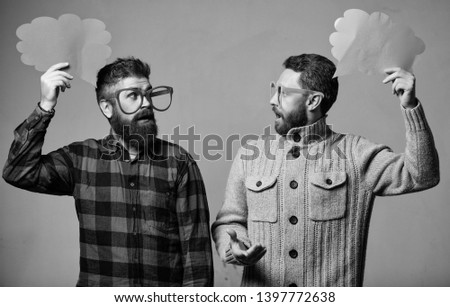 Explain humor concept. Funny story and humor. Comic idea. Men joking. Share opinion speech bubble copy space. Comic and humor sense. Men with beard and mustache mature hipster wear funny eyeglasses.