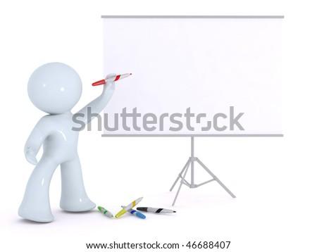 explaining on a white board