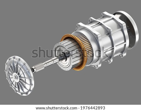 Exploded view of Electric Vehicle Motor on gray background. 3D rendering image. ストックフォト ©