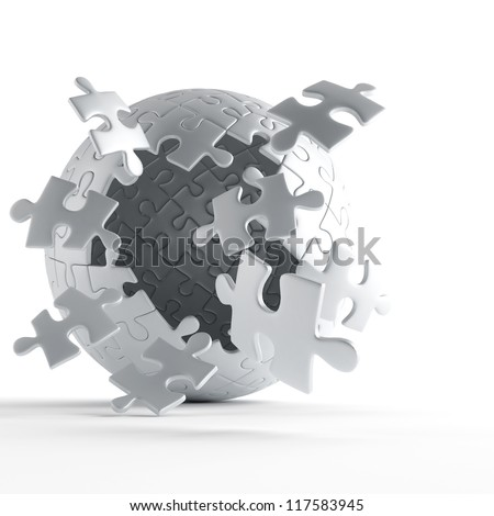 exploding ball of gray puzzle pieces on white background