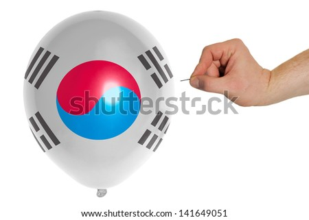 exploding balloon colored in national flag of south korea