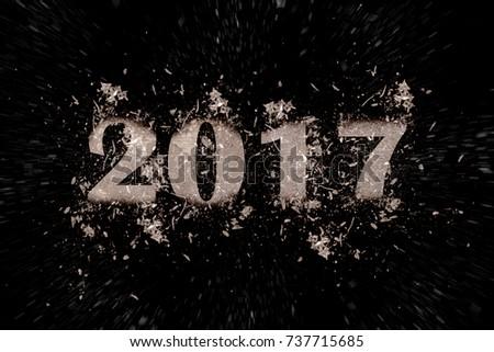 exploding inscription 2017 on a black background #737715685
