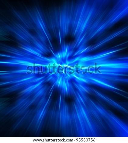 Exploding or expanding blue light.