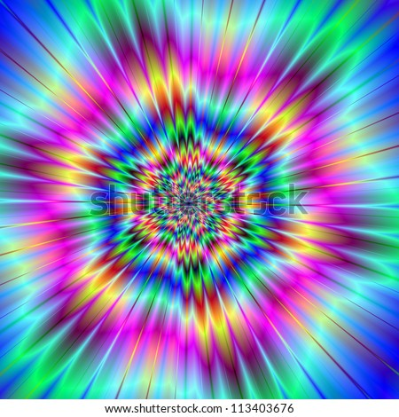 Exploding Star/Digital abstract image with a colorful explosion star design in lilac, blue, pink, yellow, and red. - stock photo