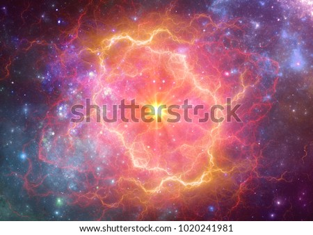 Exploding supernova in space, forminng of nebula