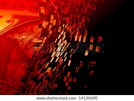 Exploding US dollar note overlaid with red color