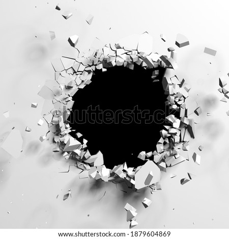 Exploding wall with free area on center. Dark destruction cracked hole in white stone wall. 3d render illustration Foto d'archivio ©