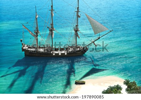 Exploration A pirate or merchant ship anchored next to an island with the crew going ashore