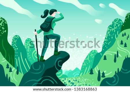 Explorer Discovery, Watch and Explore Touristic valley with traveller backpack. Flat color icons, creative illustrations, isometric infographic images, web banner