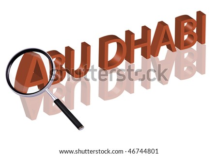 exploring city red letters in 3D part of word enlarged by magnifying glass abu dhabi city trip holiday tourism icon button travel traveling visit