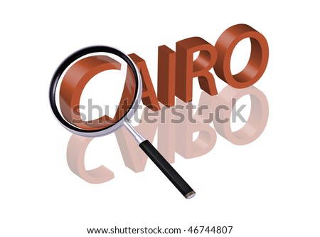 exploring city red letters in 3D part of word enlarged by magnifying glass Cairo Egypt city trip holiday tourism icon button travel traveling visit