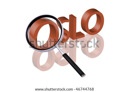 exploring city red letters in 3D part of word enlarged by magnifying glass Oslo Norway city trip holiday tourism icon button travel traveling visit