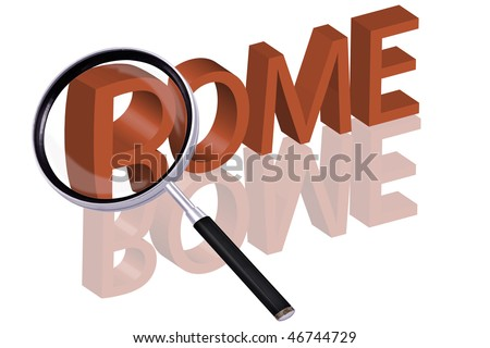 exploring city red letters in 3D part of word enlarged by magnifying glass Rome Italy city trip holiday tourism icon button travel traveling visit