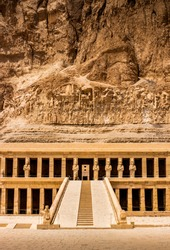 EXPLORING EGYPT - MORTUARY TEMPLE OF HATSHEPSUT - Main entrance to the pharaoh Queen Hatshepsut's temple, located on the west bank of the Nile River near the Valley of the Kings and the city of Luxor