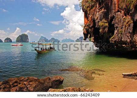 Exploring Thai island on the boat - stock photo
