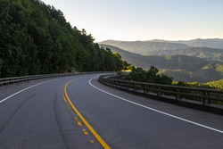 Exploring The Foothills Parkway. Winding mountain road along the Great Smoky Mountains Foothills Parkway in Wears Valley, Tennessee, USA.