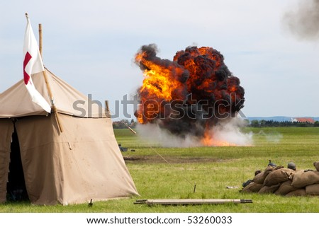 Explosion after airplane bombing - reconstruction of World War 1 - stock photo