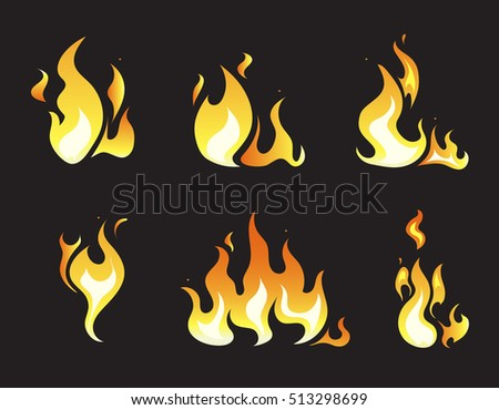 Explosion animation frames. Set of animation fire and illustration of various fire