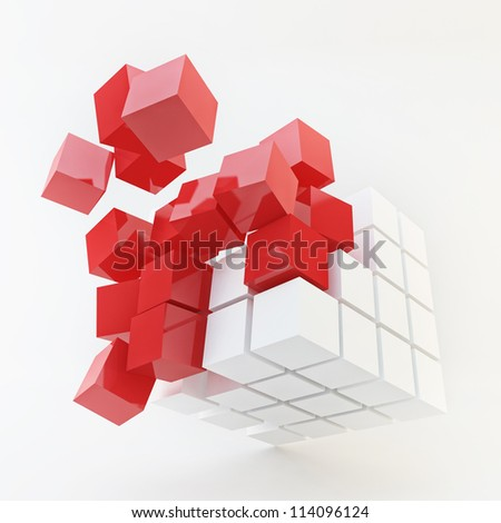 Explosion Cube Red Pattern